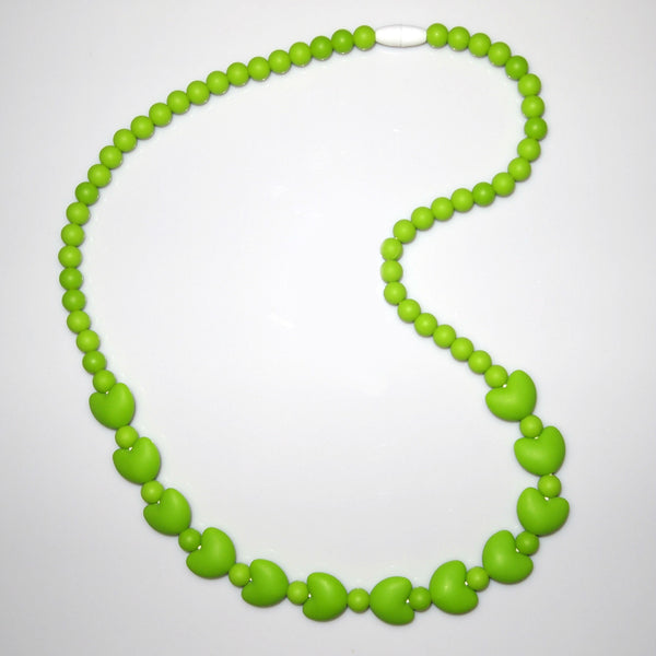 Silicone Bead Teething Necklace with Hearts - Green