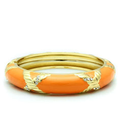Orange and Gold Bangle with clear crystals - Find Something Special