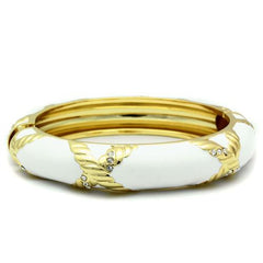 White and Gold Bangle with clear crystals - Find Something Special