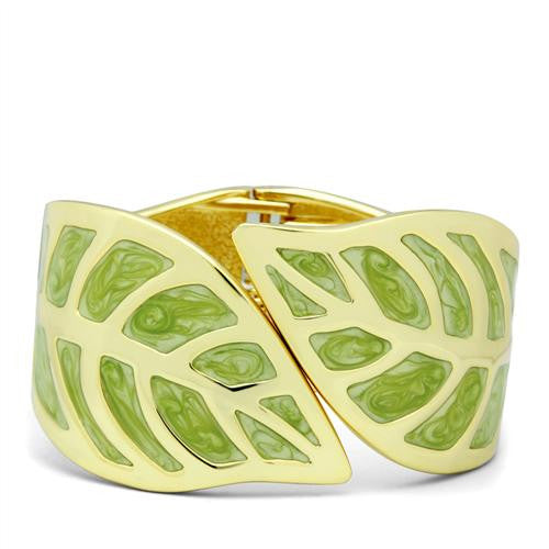 Gold and Green Leaf Hinged Bangle - Find Something Special