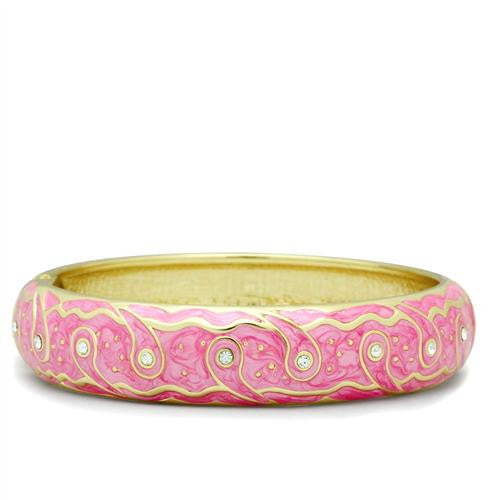 Light Pink and Gold Bangle with clear crystals - Find Something Special