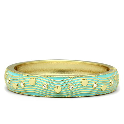 Light Blue and Gold Bangle with clear crystals - Find Something Special