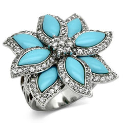 Sterling Silver Turquoise Flower Ring - Find Something Special