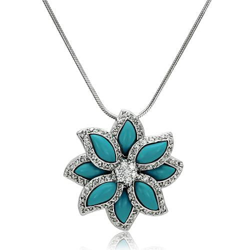 Sterling Silver Turquoise Flower Pendant - Find Something Special