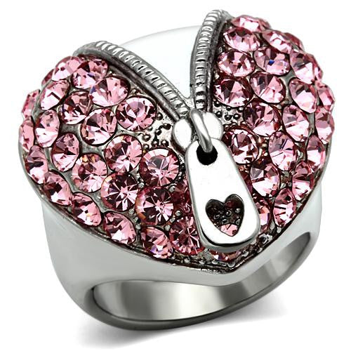Zipped Rose Crystal Heart Ring - Find Something Special