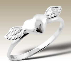 Heart with Wings Sterling Stacking Silver Ring - Find Something Special