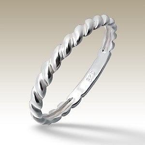 Round the Twist Sterling Silver Stacking Ring