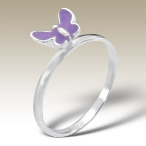 Pink Butterfly Sterling Silver Stacking Ring - Find Something Special