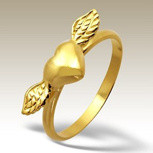 Heart with Wings Gold Plated Sterling Stacking Silver Ring - Find Something Special