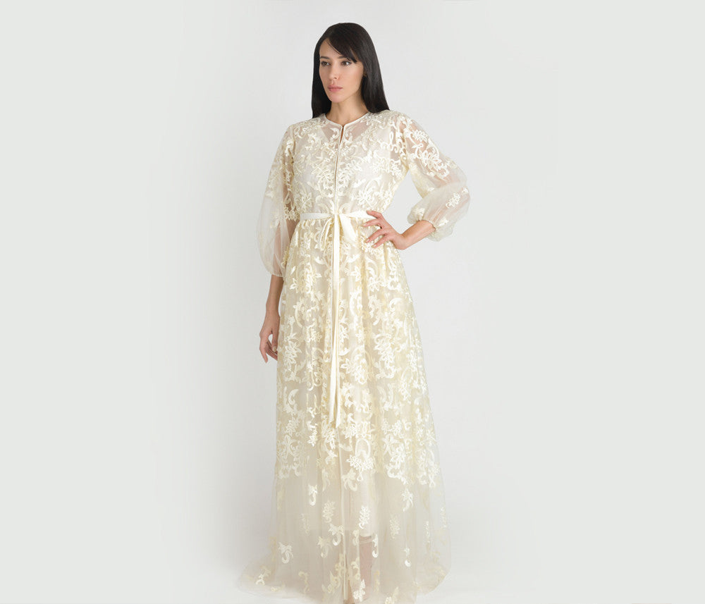Cream Lace Kaftan (Couture Edition) - Haute Elan