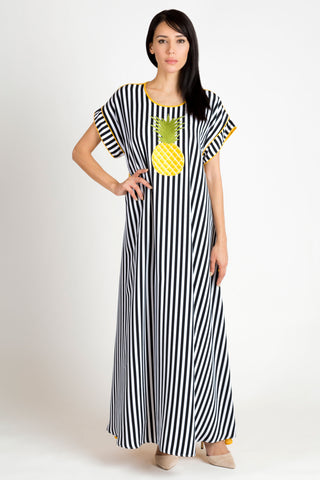 Black, White and Yellow Kaftan