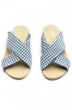 Xtees Knitted Fabric Blue/White Flats