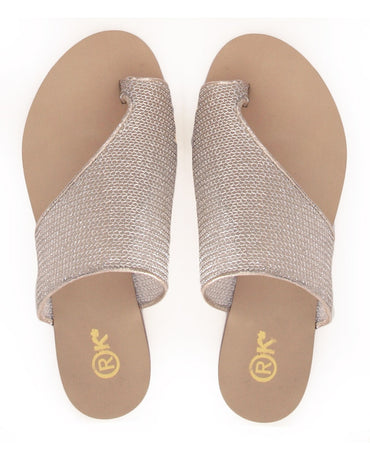 Toepees Champagne Gold Mesh Flats - Haute Elan