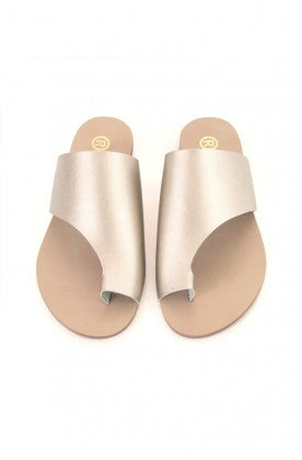 Toepees Champagne Gold Box Flats - Haute Elan