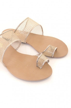 Strapees Champagne Gold Mesh Flats