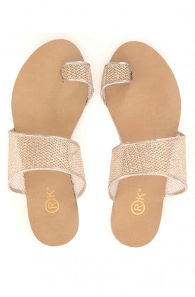Strapees Champagne Gold Mesh Flats - Haute Elan