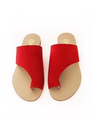 Toepees Red Nubuk Flats