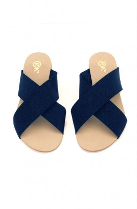 Xtees Navy Blue Elastic Flats