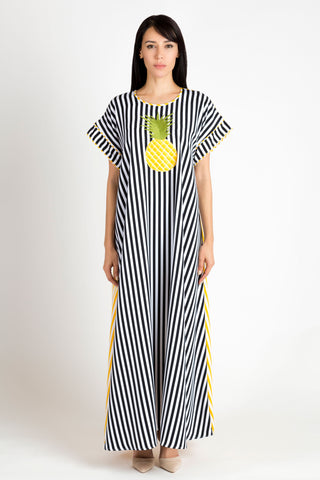 Black, White and Yellow Pineapple Kaftan