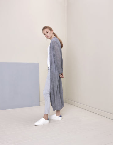 100% COTTON GREY CARDIGAN - Haute Elan