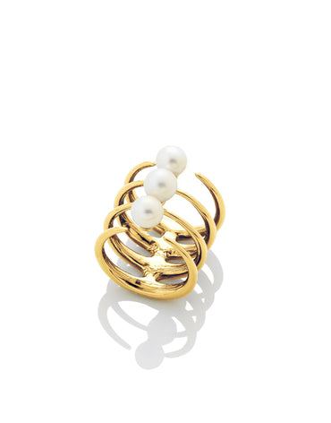 QUAD QUILL RING WITH PEARLS - Haute Elan