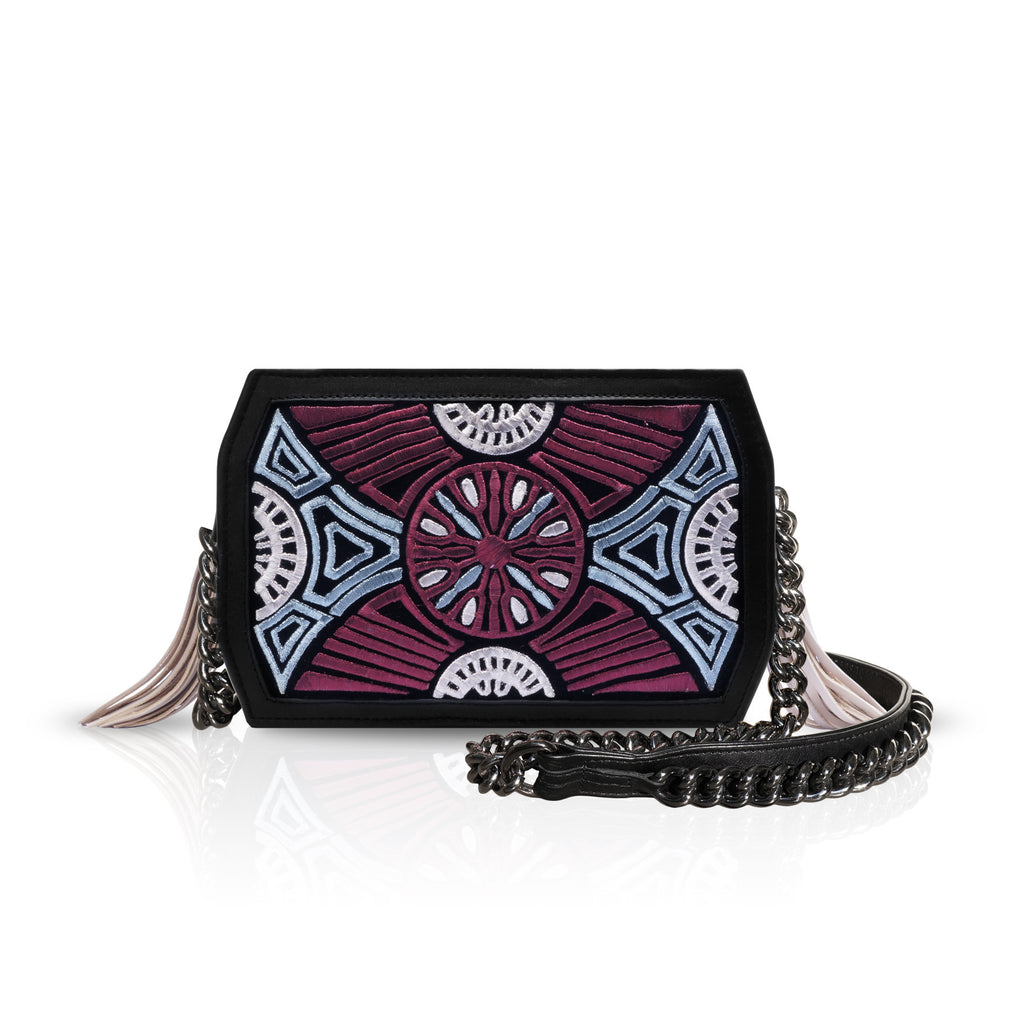 Maroon/Ice Blue/Bronze Print Cross-Body Bag - Haute Elan