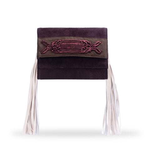 Brown Velvet and Suede Clutch Bag