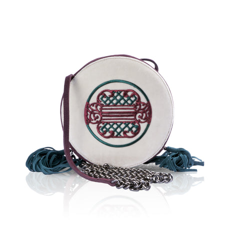 Maroon/Green Print Round Shaped Shoulder Bag