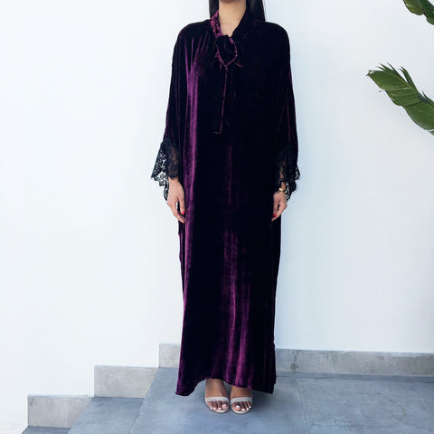 Burgundy Velvet Kaftan with Lace Detail