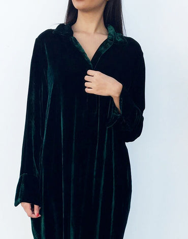 Emerald Green Velvet Shirt Dress - Haute Elan