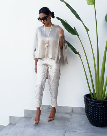 Grey Silk Blouse