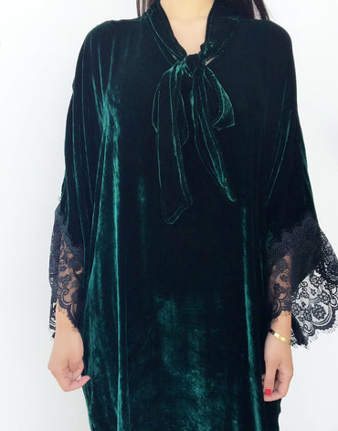 Emerald Green Velvet Kaftan with Lace Detail - Haute Elan