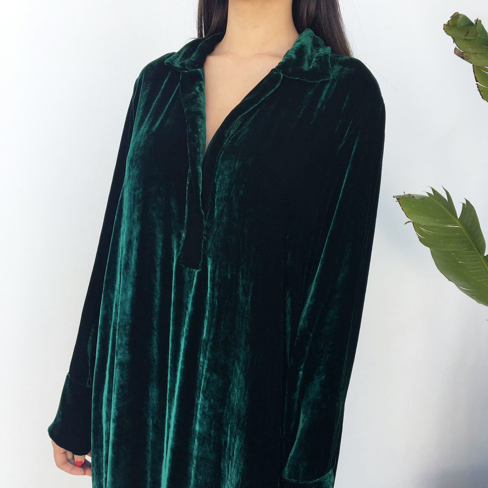 Emerald green velvet shirt dress haute elan Emerald green mens dress shirt
