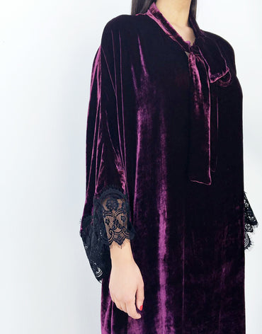 Burgundy Velvet Kaftan with Lace Detail - Haute Elan