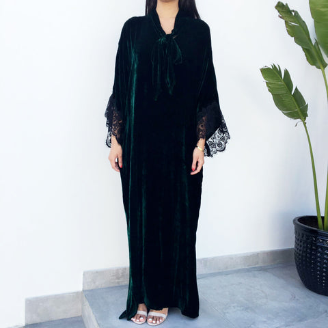 Emerald Green Velvet Kaftan with Lace Detail
