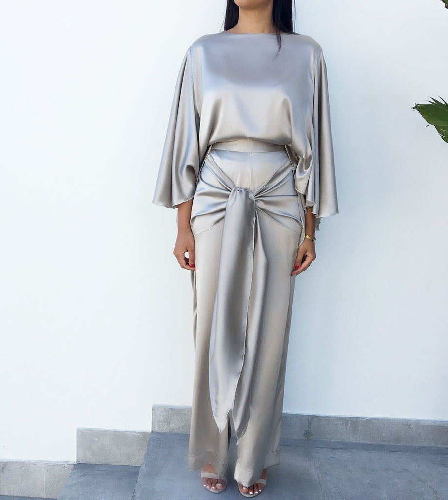 Grey Wide Leg Silk Trousers