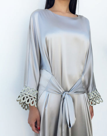Grey Maxi Dress with Lace Detail