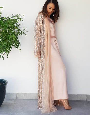 PLEATED TULLE SEQUINS PEACH ABAYA IN NUDE WITH TULLE TIE - Haute Elan