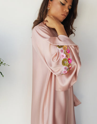 Matt Satin Peach Abaya With Sequins - Haute Elan