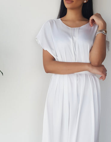 Satin Silk Mix White Short Sleeve Belted Tunic Dress - Haute Elan