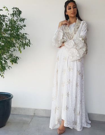 Qabeela Bridal Abaya in Off White Hand Embroidered With Matt gold Embellishments - Haute Elan