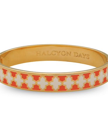 Agma Orange, Cream & Gold Bangle - Haute Elan