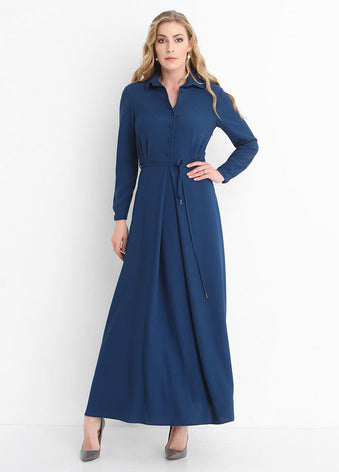 2312 - Navy Shirt Maxi Dress