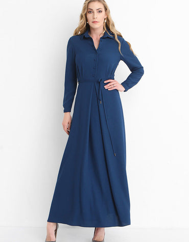 2312 - Navy Shirt Maxi Dress - Haute Elan