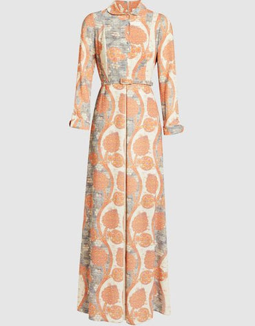 2317 - Cream/Orange Maxi Dress - Haute Elan