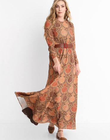 2324 - Nut-Brown Belted Maxi Dress