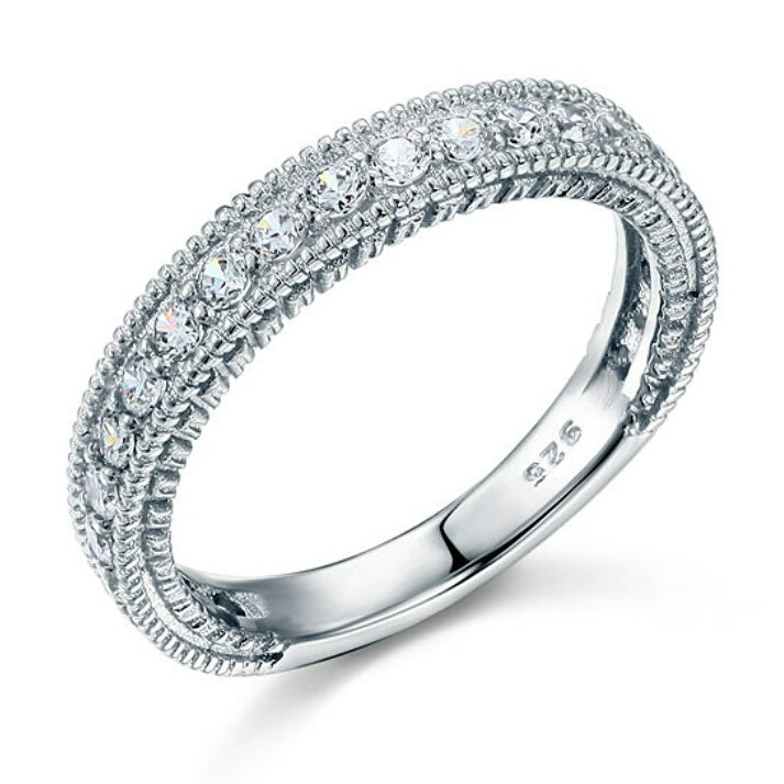 Sterling Silver Stimulated Diamond Ring - Haute Elan
