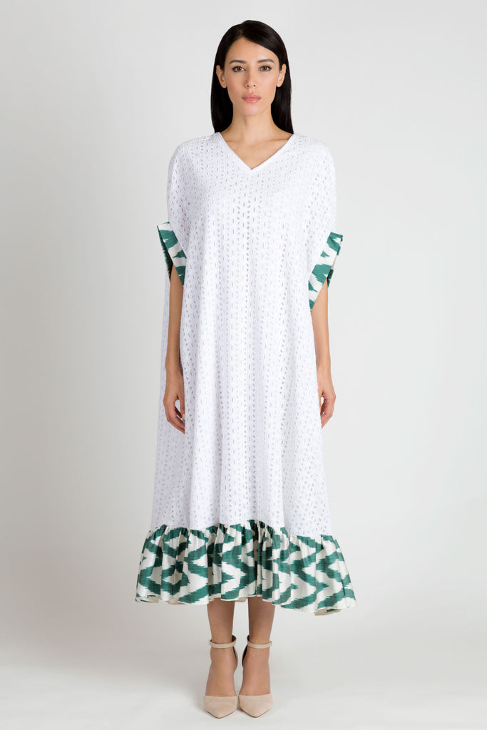 White and Green Kaftan - Haute Elan