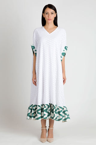 White and Green Kaftan