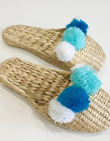 HAND MADE STRAW SLIPPERS BLUE